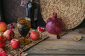 Harvest of red apples, grapefruit with glass of red wine, autumn leaves and flowers - PhotoDune Item for Sale