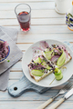 Healthy vegetarian bruschettas with bread, micro greens, cheese, cucumbers and red onion - PhotoDune Item for Sale