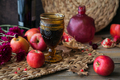 Glass of red wine, apples, grapefruits, autumn leaves and flowers on a wooden table - PhotoDune Item for Sale