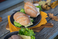 Ciabatta baguette sandwiches with ham, cheese, lettuce and a glass of beer - PhotoDune Item for Sale