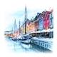 Watercolor Pencils Sketch of Nyhavn Copenhagen - GraphicRiver Item for Sale