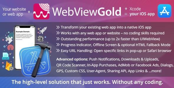 WebViewGold na iOS - aplikacja WebView URL / HTML na iOS + Push, obsługa URL, API i wiele więcej!