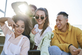 Group of young people doing selfie outdoors - PhotoDune Item for Sale