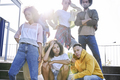 Portrait of serious young group of friends outdoors - PhotoDune Item for Sale