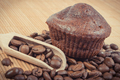 Fresh muffins with chocolate and coffee. Delicious dessert for different occasions - PhotoDune Item for Sale