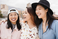 Happy asian girls having fun together outdoor around city - Main focus on center woman face - PhotoDune Item for Sale