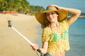 Lifestyle portrait of young lovely woman wearing a bright youth clothing - PhotoDune Item for Sale