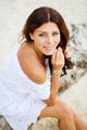 Relaxing beach woman enjoying the summer sun in white dress. - PhotoDune Item for Sale