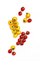 Red and yellow cherry tomatoes on white background, top view - PhotoDune Item for Sale
