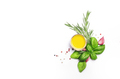 Spices and herbs. Green basil, pepper and olive oil. Vegan healthy diet food on white background. - PhotoDune Item for Sale