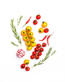 Spices and herbs. Tomato, basil, pepper, garlic. Vegan healthy diet food on white background - PhotoDune Item for Sale