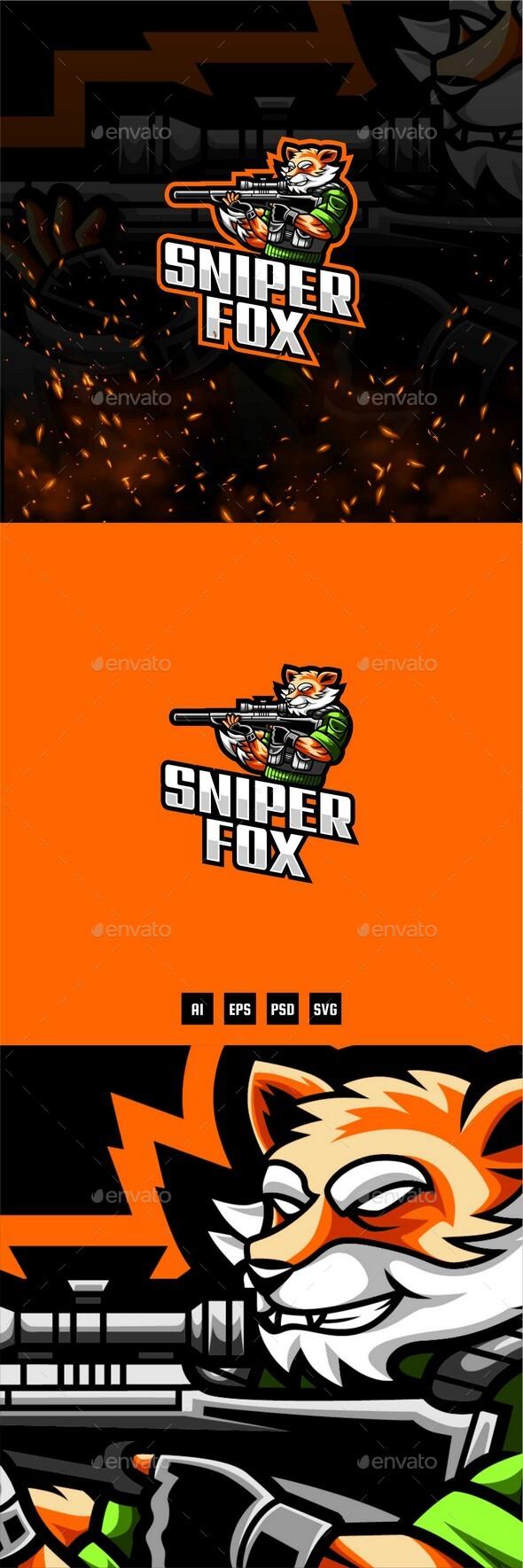 Sniper Fox E-Sport and Sport Logo Template