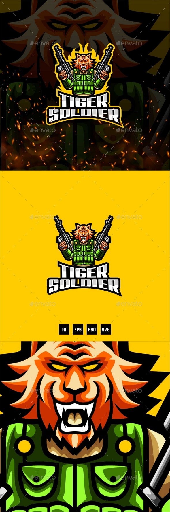 Tiger Soldier E-Sport and Sport Logo Template