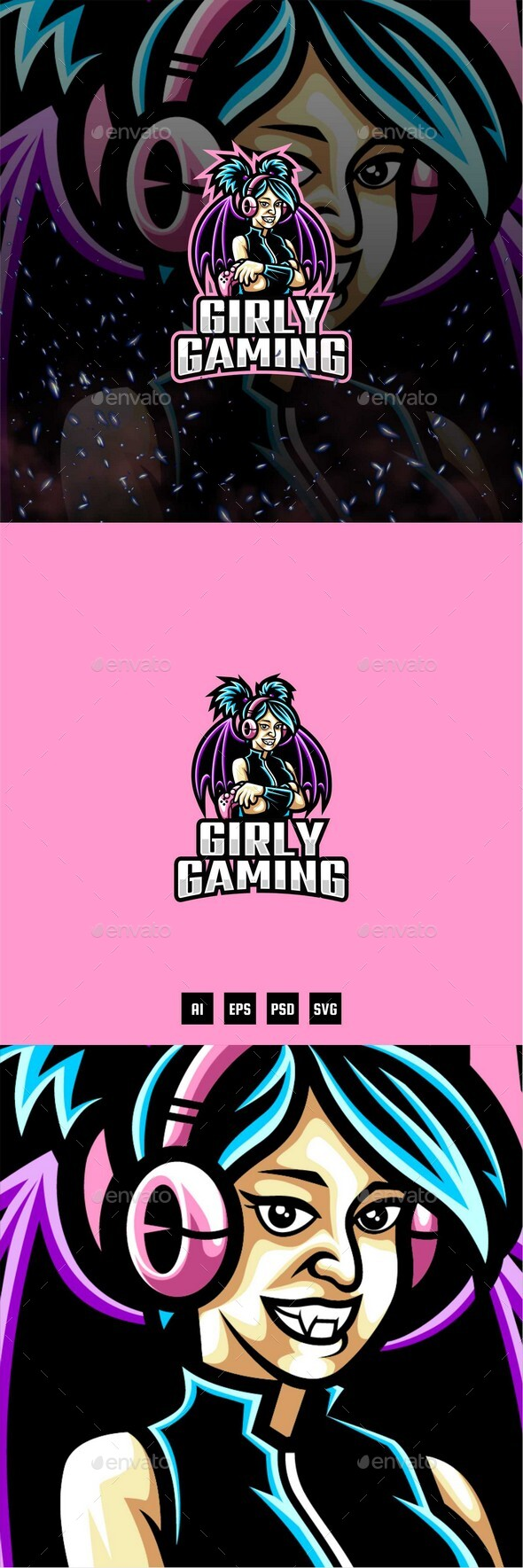 Girly Gamer E-Sport and Sport Logo Template