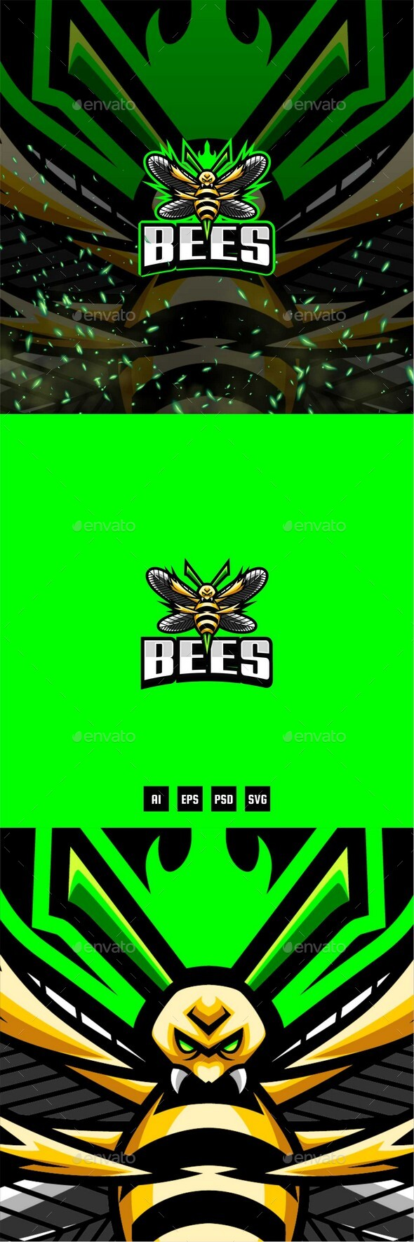 Bees E-Sport and Sport Logo Template