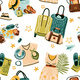 Seamless Pattern with Travel Stuff Objects - GraphicRiver Item for Sale