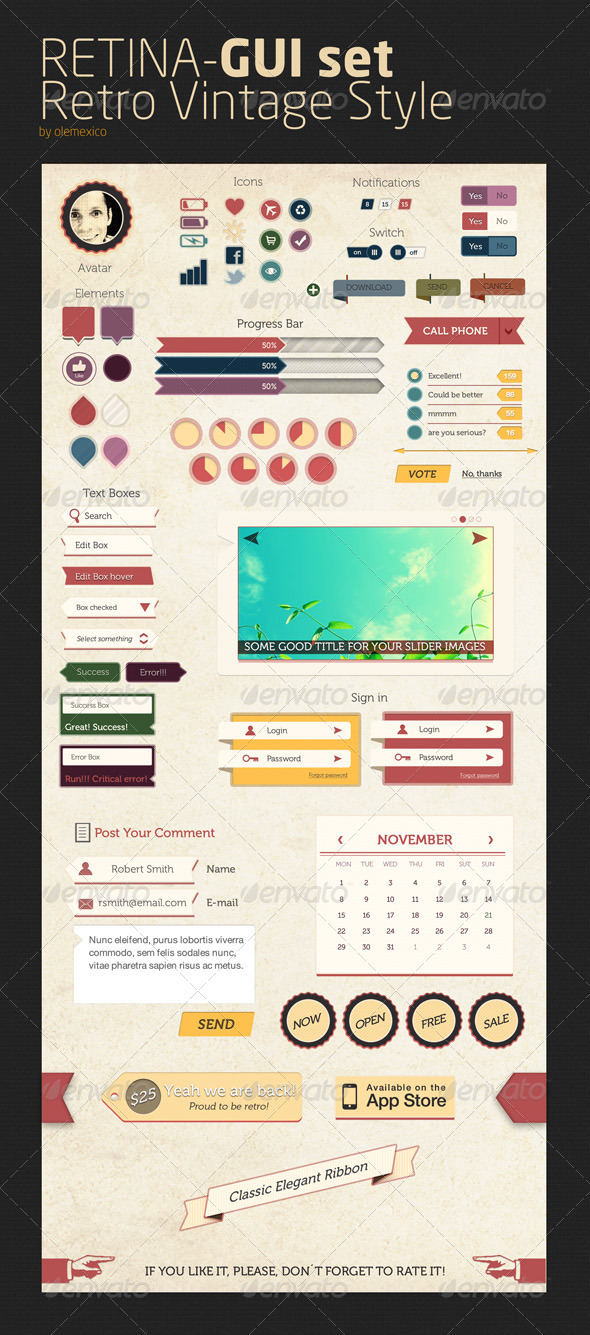 Vintage UI Templates from GraphicRiver
