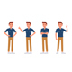 Man Wear Blue Jeans Shirt Character Vector Design. - GraphicRiver Item for Sale