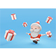 3d Rendering Cute Santa Running with White Present Box - GraphicRiver Item for Sale