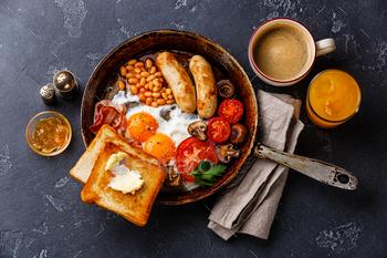 English breakfast in pan