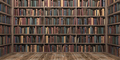 Vintage books on bookshelves in old library. Education and literature concept. - PhotoDune Item for Sale