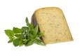 Piece of Dutch herbal cheese and fresh green herbs on white background - PhotoDune Item for Sale