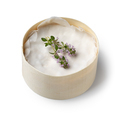 Round box Mont d'Or cheese with a twig of thyme on white background - PhotoDune Item for Sale