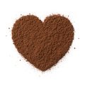 Brown cocoa powder in heart shape isolated on white background - PhotoDune Item for Sale