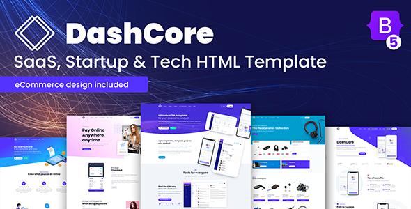 DashCore - SaaS, szablon uruchamiania i oprogramowania
