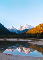Stylish travel wallpaper. Slovenia. Mountains and  lake. Narure lover concept - PhotoDune Item for Sale