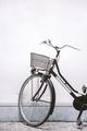 Bicycle on the street of European city. Travel aesthetics. Stylish wallpaper. Slovenia. Ljubljana - PhotoDune Item for Sale