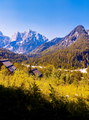 Stylish travel wallpaper. Slovenia. Mountains and  lake. Narure lover hiking concept - PhotoDune Item for Sale