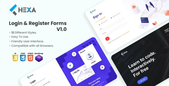 Hexa - The Ultimate Login & Registration HTML5 Forms