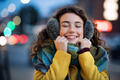 Woman enjoy warm clothes in winter evening - PhotoDune Item for Sale