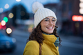 Happy winter woman on urban street - PhotoDune Item for Sale