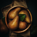 Ripe brown pears in a wooden bowl, dark background, rustic style, top view - PhotoDune Item for Sale