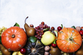 Autumn meal background with pumpkins, vegetables, fruits and nuts, thanksgiving concept, top view - PhotoDune Item for Sale