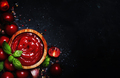 Hot tomato ketchup sauce with garlic, spices and green basil with cherry tomatoes - PhotoDune Item for Sale