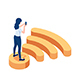 Isometric Woman Standing on Wifi Symbol and Using Smartphone - GraphicRiver Item for Sale
