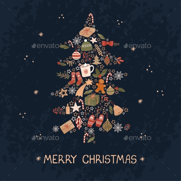 Christmas Greeting Card with Illustration