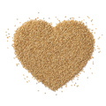 Sesame seed in heart shape isolated on white background - PhotoDune Item for Sale