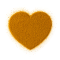 Turmeric powder in heart shape isolated on white background - PhotoDune Item for Sale