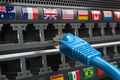 VPN virtual private network conncetion concept. Lan cable and a router with different flags. - PhotoDune Item for Sale