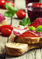 Bruschetta with jerked meat, old wooden background, selective - PhotoDune Item for Sale