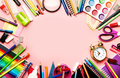 Back to school background with space for text, notebooks, pens, pencils, other stationery - PhotoDune Item for Sale