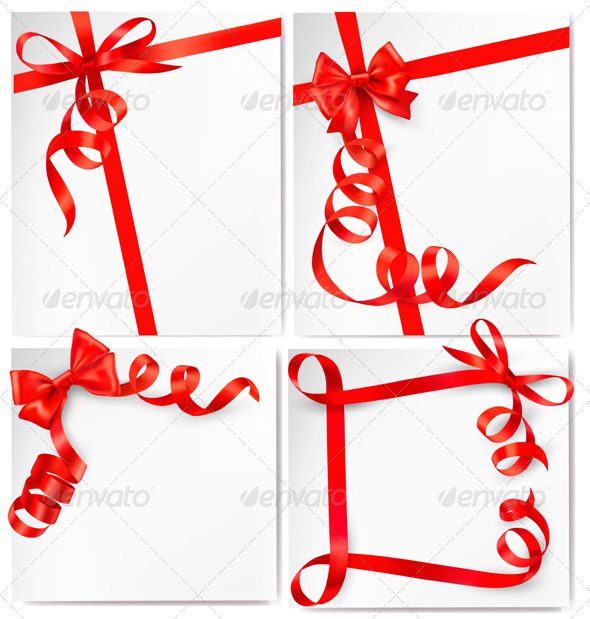 Set of holiday background with red gift bow with r