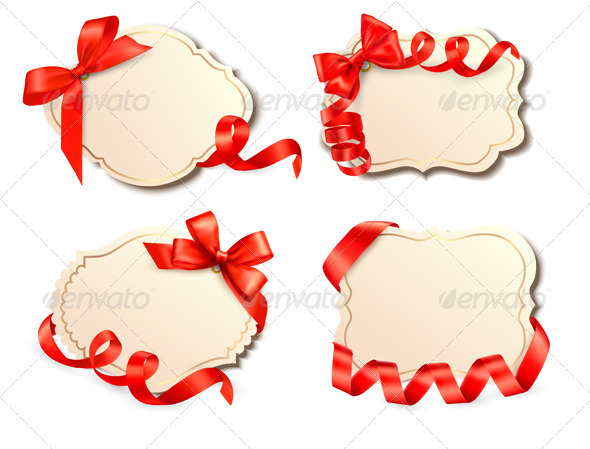 Set of old cards with red gift bows with ribbons