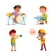 Kids Boys Playing In Music Orchestra Set Vector - GraphicRiver Item for Sale