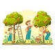 Young Family Picking Apples - GraphicRiver Item for Sale