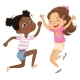 Two Girls Play Together Happily Jump and Dance - GraphicRiver Item for Sale